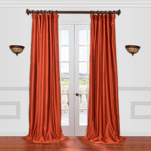 Half Price Drapes Yarn Dyed Orange 108-Inch Dupioni Curtain