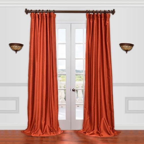 Half Price Drapes Yarn Dyed Orange 120-Inch Dupioni Curtain
