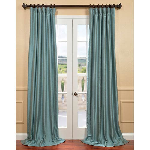 Half Price Drapes Yarn Dyed Blue 50 x 120-Inch Dupioni Curtain