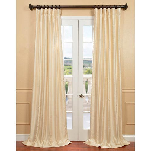 Half Price Drapes Yarn Dyed Ivory 50 x 120-Inch Dupioni Curtain