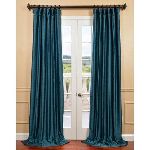 Half Price Drapes Fiji Yarn Green 50 x 108-Inch Dupioni Curtain