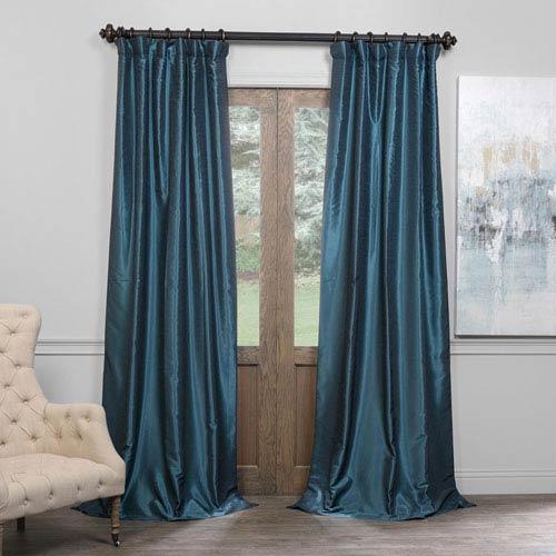 Half Price Drapes Peacock 50 X 108 Inch Blackout Vintage Textured Faux Dupioni Silk Curtain