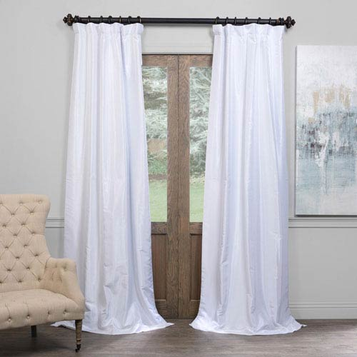 Half Price Drapes Ice 50 X 108 Inch Blackout Vintage Textured Faux Dupioni Silk Curtain