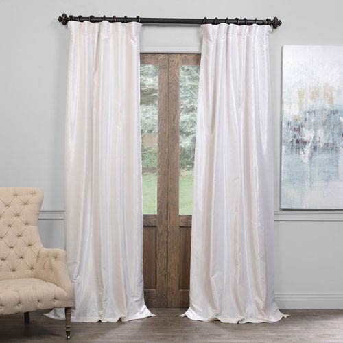 Half Price D Off White 50 X 108 Inch Blackout Vintage Textured Faux Dupioni Silk Curtain