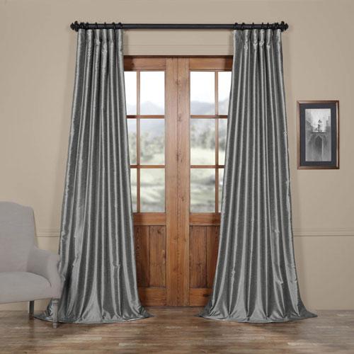 Half Price Drapes Storm Grey Vintage Textured Faux Dupioni Silk Single Panel Curtain, 50 X 84