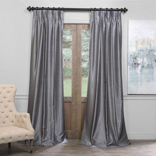 Half Price D Gray 25 X 108 Inch Blackout Vintage Textured Faux Dupioni Silk Pleated Curtain