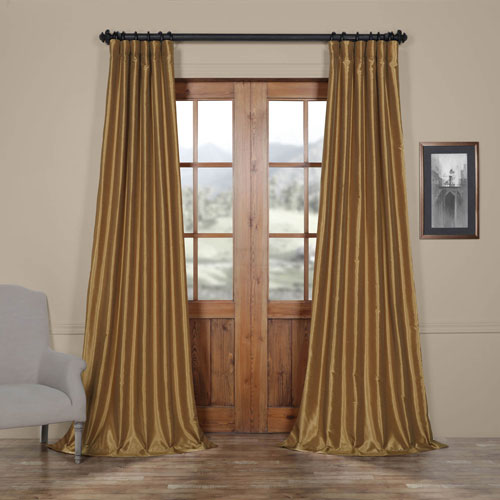 Flax Gold Vintage Textured Faux Dupioni Silk Single Panel Curtain, 50 X 96
