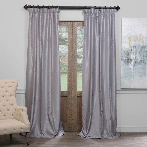 Silver 50 x 108-Inch Blackout Vintage Textured Faux Dupioni Silk Curtain