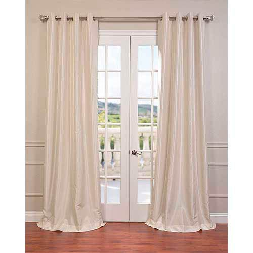Half Price Drapes Ivory 108 x 50-Inch Vintage Textured Grommet Blackout Curtain Single Panel