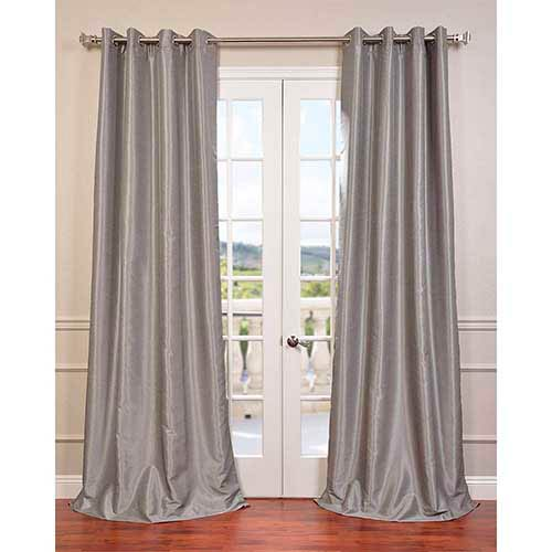 Half Price Drapes Silver 84 x 50-Inch Vintage Textured Grommet Blackout Curtain Single Panel