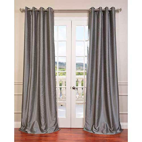 Storm Gray 108 x 50-Inch Vintage Textured Blackout Curtain Single Panel