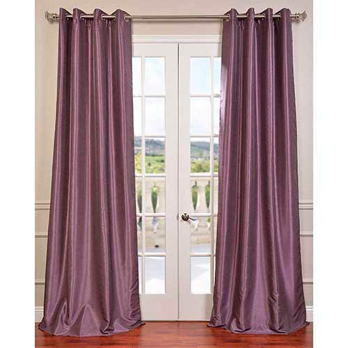 Smokey Purple 96 x 50-Inch Vintage Textured Grommet Blackout Curtain Single Panel