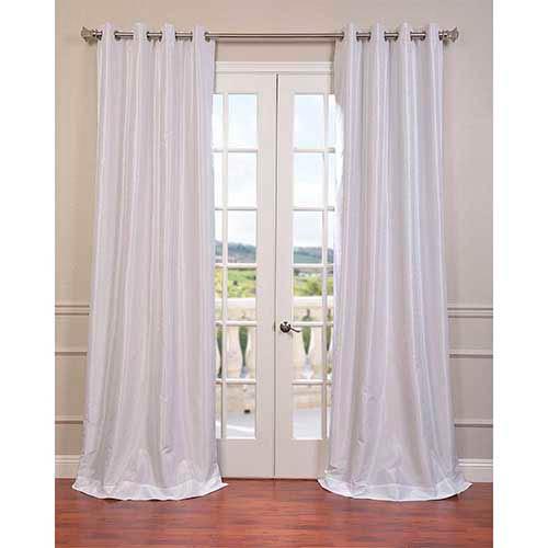Half Price Drapes White 84 x 50-Inch Vintage Textured Grommet Blackout Curtain Single Panel