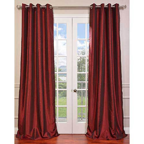 Ruby Red 96 x 50-Inch Vintage Textured Grommet Blackout Curtain Single Panel