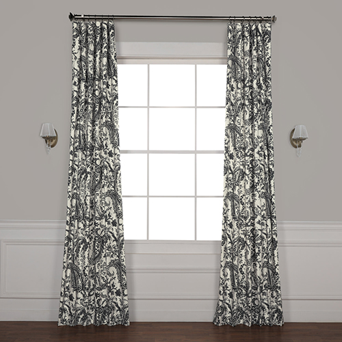 Half Price Drapes Edina Grey 84 in. x 50 in. Printed Cotton Curtain Panel