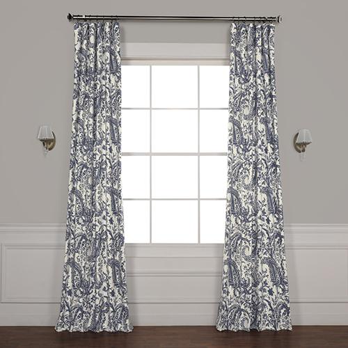 Edina Blue 96 in. x 50 in. Printed Cotton Curtain Panel