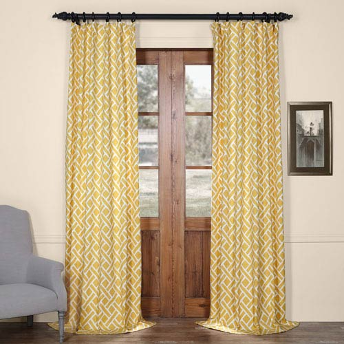 Half Price Drapes Martinique Yellow 84 in. x 50 in. Printed Cotton Curtain Panel