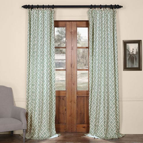 Martinique Blue 120 in. x 50 in. Printed Cotton Curtain Panel