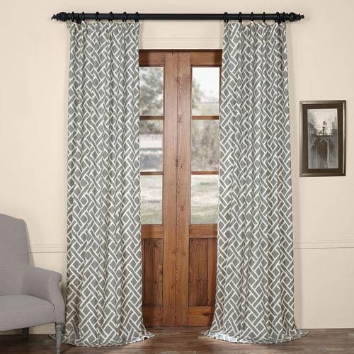 Half Price Drapes Martinique Grey 108 in. x 50 in. Printed Cotton Curtain Panel