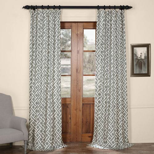 Half Price Drapes Martinique Grey 84 in. x 50 in. Printed Cotton Curtain Panel