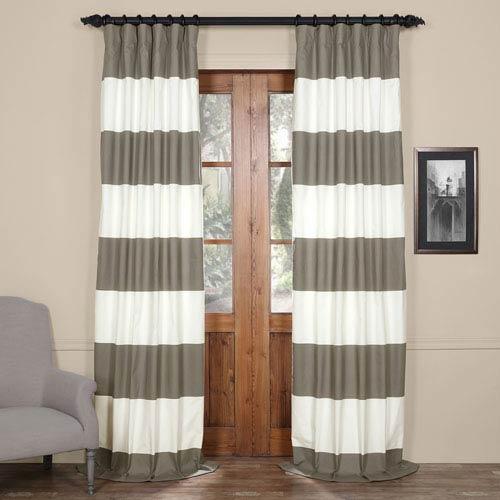 Half Price Drapes Slate Gray And Off White 50 X 120 Inch Horizontal Stripe Curtain