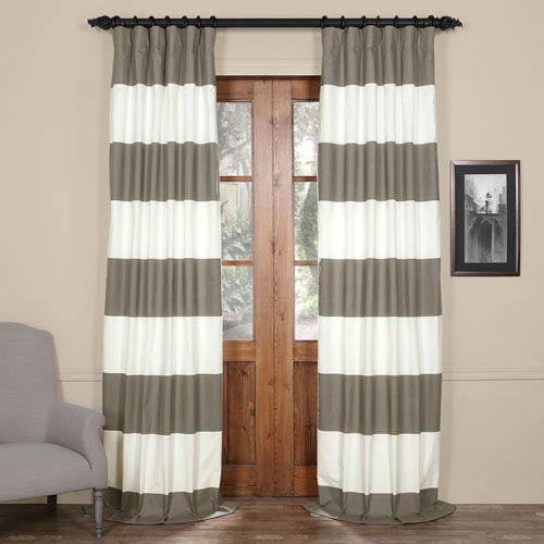 Slate Gray and Off White 50 x 84-Inch Horizontal Stripe Curtain