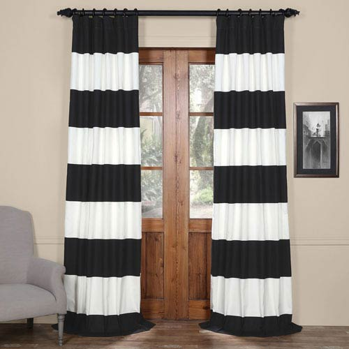 Half Price Drapes Black and Off White 50 x 108-Inch Horizontal Stripe Curtain