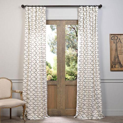 Illusions Silver Grey 96 x 50-Inch Printed Cotton Curtain Single Panel
