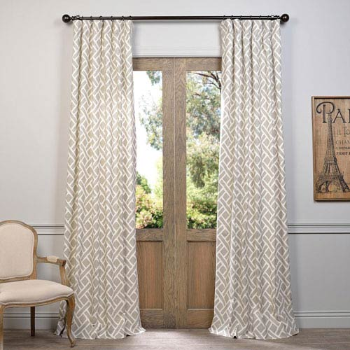 Martinique Taupe 96 x 50-Inch Printed Cotton Curtain Single Panel