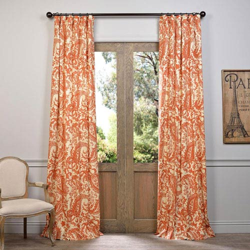 Edina Rust 108 x 50-Inch Printed Cotton Curtain Single Panel