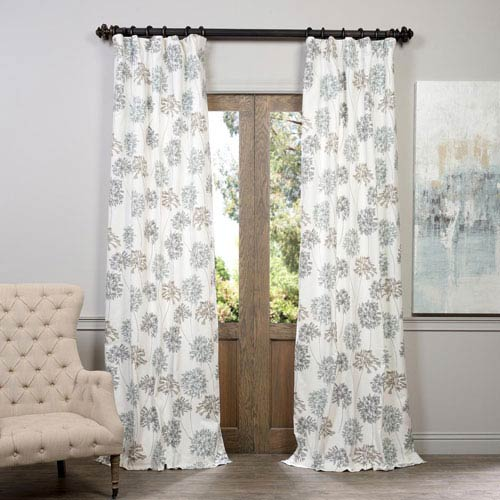 Half Price D Allium Blue Gray Printed Cotton Curtain 50 X 84