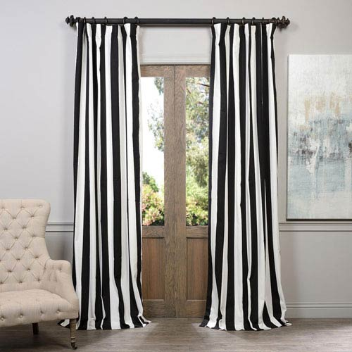 Half Price D Cabana Black Printed Cotton Curtain 50 X 84