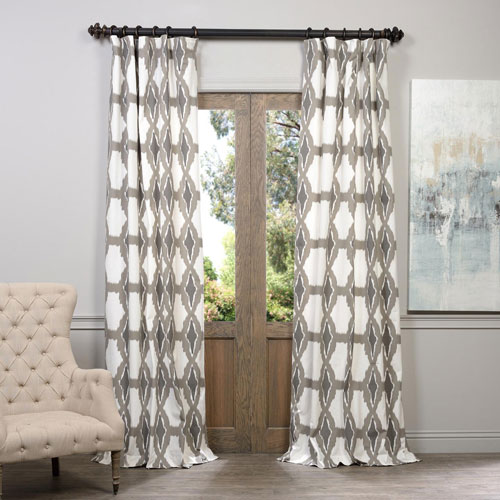 Half Price Drapes Sorong Grey 50 x 120-Inch Printed Curtain