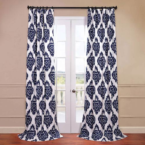 Half Price Drapes Ikat Multi 50 x 84-Inch Printed Curtain