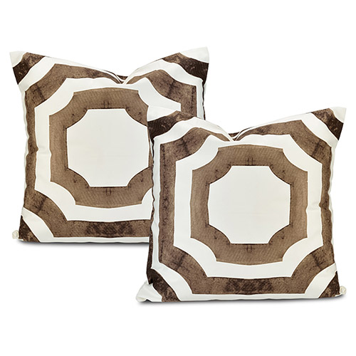 Mecca Brown Printed Cotton Cushion Cover, Set of Two