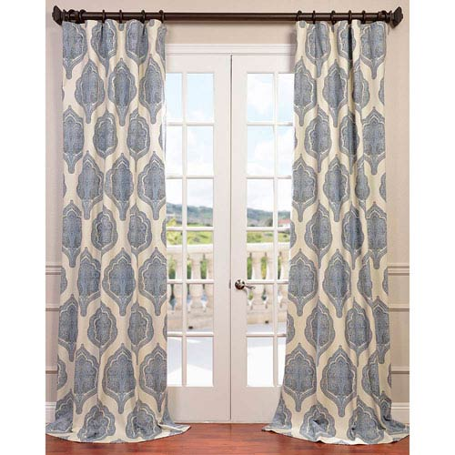 Half Price Drapes Arabesque Blue 96 x 50-Inch Curtain Single Panel