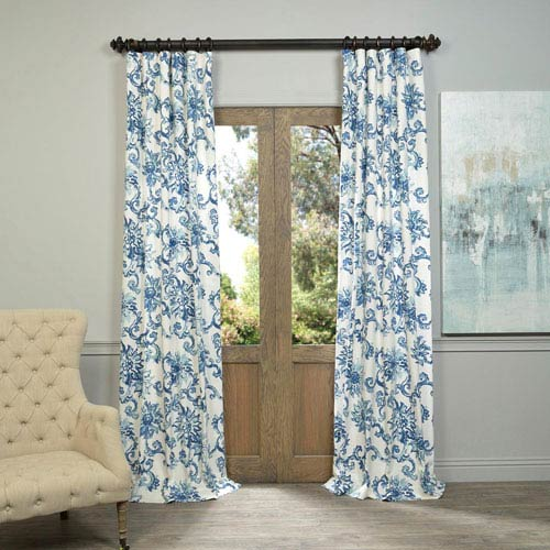 Indonesian Blue 96 x 50-Inch Printed Cotton Twill Curtain Single Panel