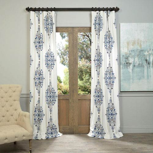Kerala Blue 96 x 50-Inch Printed Cotton Twill Curtain Single Panel