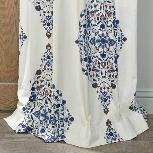 Half Price Drapes Kerala Blue 96 X 50 Inch Printed Cotton