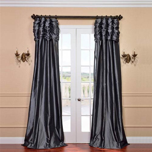 Ruched Graphite 84 x 50-Inch Faux Silk Taffeta Curtain Single Panel
