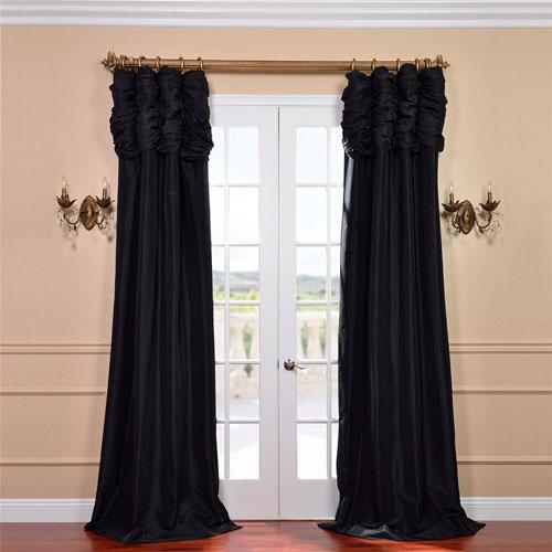 Ruched Jet Black 108 x 50-Inch Faux Silk Taffeta Curtain Single Panel