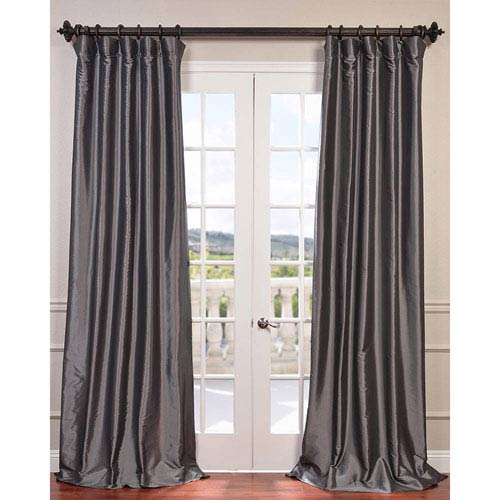 Graphite 96 x 50-Inch Blackout Faux Silk Taffeta Curtain Single Panel