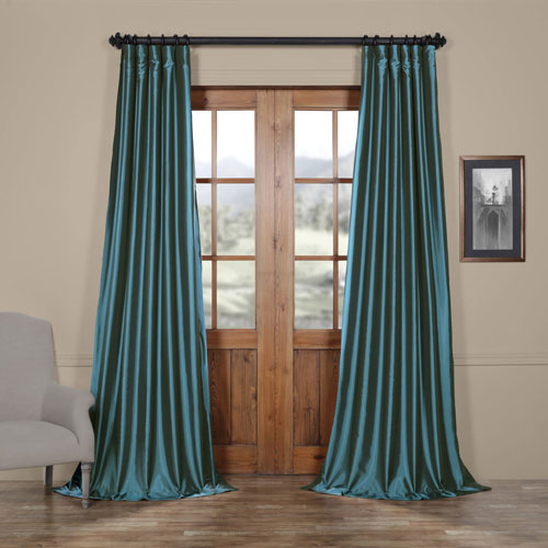Half Price Drapes Azul Blue 50 x 108-Inch Taffeta Curtain