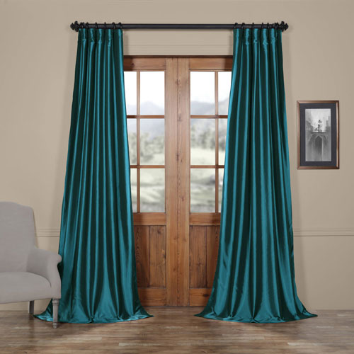 Half Price Drapes Mediterranean Faux Silk Taffeta Single Panel Curtain, 50 X 96