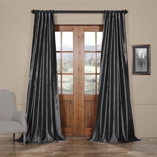 Half Price Drapes Graphite Faux Silk Taffeta Single Panel Curtain, 50 X 96