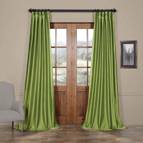 Half Price Drapes Fern Faux Silk Taffeta Single Panel Curtain, 50 X 96
