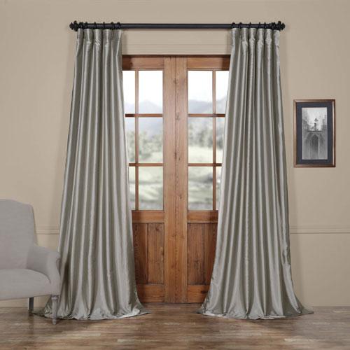 Half Price Drapes Platinum Faux Silk Taffeta Single Panel Curtain, 50 X 84