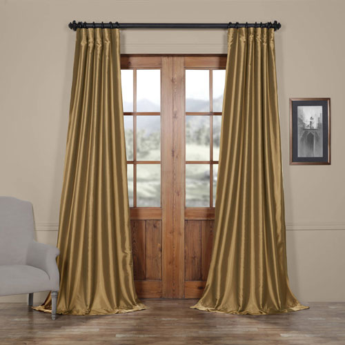 Half Price Drapes Yellow 50 x 120-Inch Taffeta Curtain