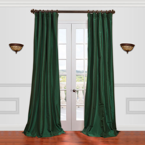 Emerald Green 50 x 120-Inch Taffeta Curtain