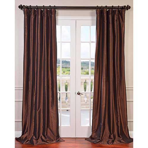 Rum Raisin Brown 96 x 50-Inch Blackout Faux Silk Taffeta Curtain Single Panel